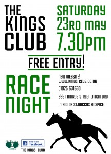Kings Club Warrington Race Night Charity Fundraiser for St. Rocco's Hospice